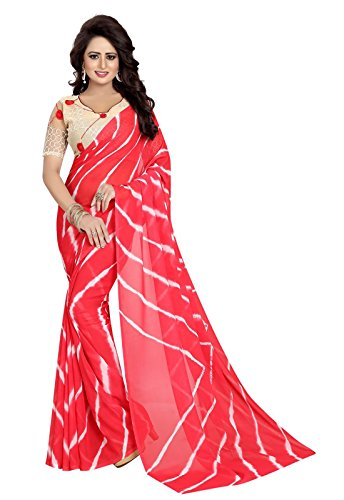 Ishin Faux Georgette Red Lehriya Print Printed With Rassel Net Blouse Fabric Party Wear Wedding Wear Casual Wear Festive Wear Bollywood New Collection Latest Design Trendy Women\'s Saree/Sari