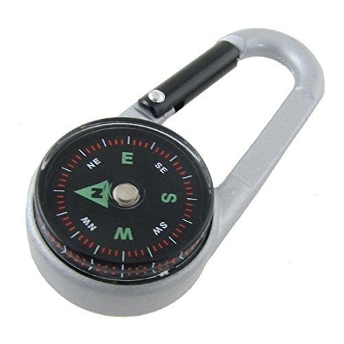 Haken Schnalle Set von 2Pcs Karabiner mit Metall Kompass Schlüsselanhänger und Flaschenhalter für Camping, Wandern, Reisen (Kompass Karabiner Schlüsselanhänger)