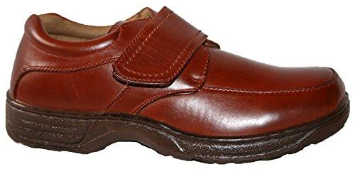 Uomo Cushion Walk leggero scarpe casual, da infilare e touch strappo bar. brown pu velcro