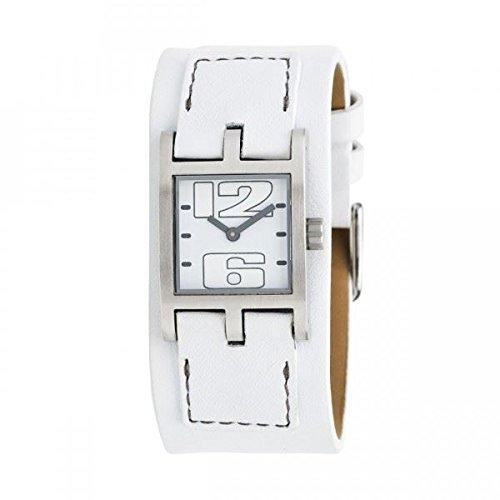Bruno Banani–br21068–Montre bracelet pour femme, bracelet en cuir couleur blanc