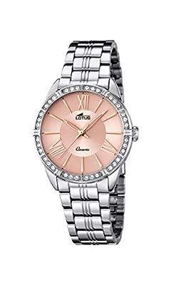 Lotus–Reloj de cuarzo para mujer con oro rosa esfera analógica y plata pulsera de acero inoxidable 18130/2