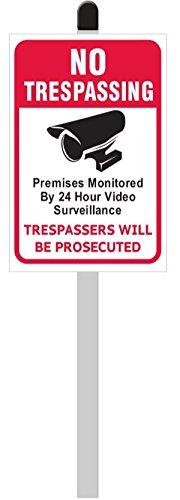 No Trespassing/Trespassers werden verfolgt PVC Yard Sign (20,3cm breit x 30,5cm hoch) auf 91,4cm lang Aluminium Post dem Spiel mit einem schwarz Finishing Gap - Der Home-security-kameras Außerhalb