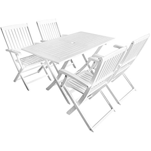 BIGTO Wooden Outdoor Bar Set Solid Acacia Wood Outdoor Wooden Garden Furniture Table and Chairs Set (White, 5 Piece)
