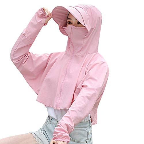 men Sonnenschutz Kapuzenmantel Anti-UV Jacke + Hut Sommer Atmungsaktiv Radfahren Funktionsjacke Sportjacke Softshell Jacke Windbreaker Top und Cap ()
