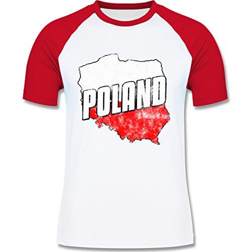EM 2016 - Frankreich - Poland Umriss Vintage - zweifarbiges Baseballshirt für Männer Weiß/Rot