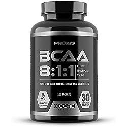 Xcore BCAA 8:1:1 Complex SS - Suplemento para atletas, aminoácidos para el músculo, la recuperación rápida, el sistema inmune, la fuerza y el refuerzo de la energía, 180 comprimidos