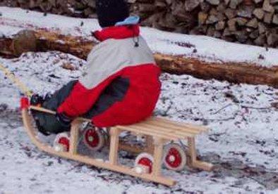 Roll Rodel Bausatz Rollen Räder Reifen für Schlitten Rollschlitten - 4