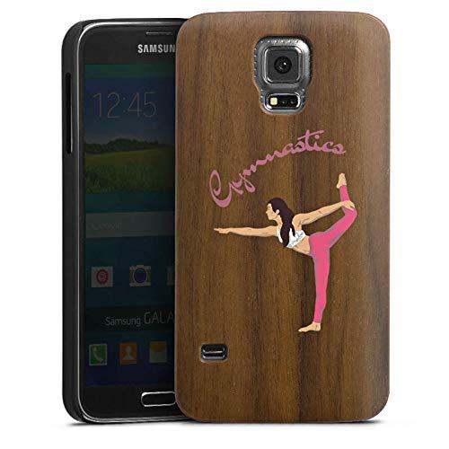 DeinDesign Holz Hülle kompatibel mit Samsung Galaxy S5 Neo Wooden Case Echtholz Handyhülle Gymnastic ohne Hintergrund Hobby