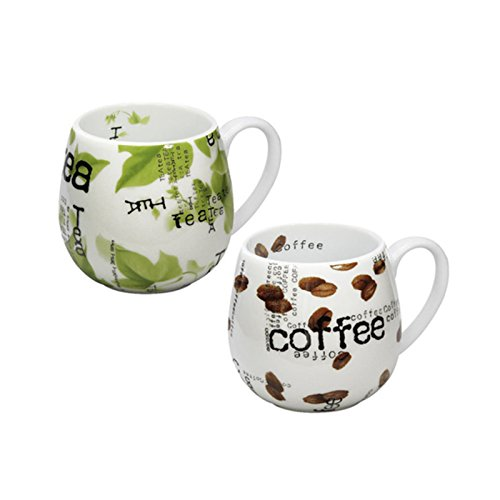 Könitz Porzellan Kaffee Becher Set Collage 2 teilig Tee Tasse Kinder Tassen 420 ml 2 Tee Tassen