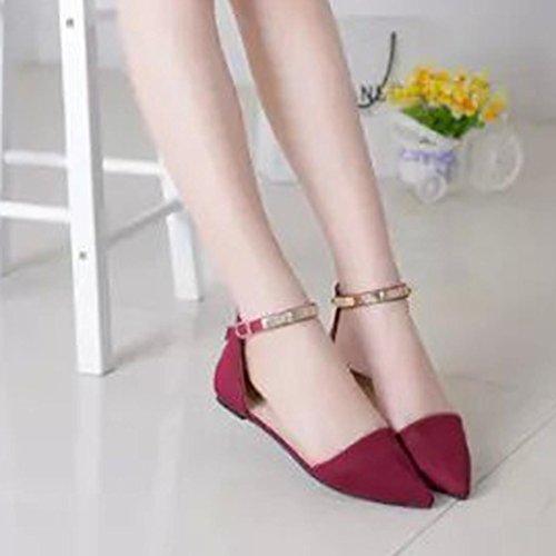 Longra Le donne hanno puntato i pattini del piede delle scarpe singole Rosso