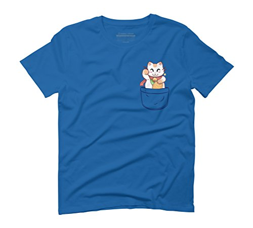 Lucky Cat in your pocket tee Men's Graphic T-Shirt - Design By Humans Royal Blue