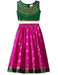 Elaisha Girls' Regular Fit Ghagra Choli (GC-408_Pink_2-3 years)