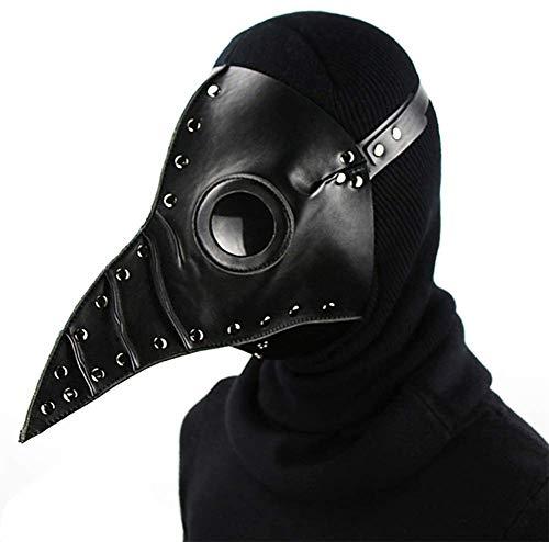 (Pest Doktor Maske Halloween Requisiten Kostüm Steampunk Gotische Cosplay Retro Leder Vogel Maske,Black)