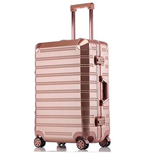 Unbekannt Gepäck Box Female Box Trolley Caster Aluminium Frame Koffer Koffer Box XINYALAMP (Color : Rose Gold, Size : 24 inches) -