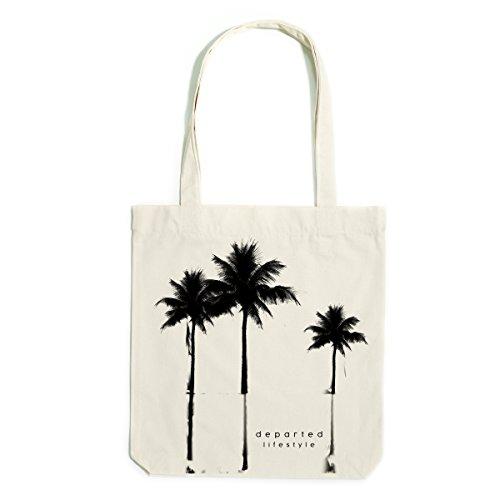 Print Canvas Shopper (DEPARTED Canvas Tote Bag Stoff Tragetasche mit Print/Motiv - No. 29, natur)