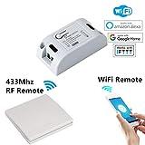 WiFi Smart Switch, YLX Intelligente Fernbedienung Universal Wireless DIY Smart Home 433 MHz RF Empfängermodul Timer Module Kompatibel mit Alexa, Google Home und IFTTT (4)