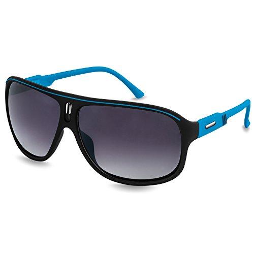 Caspar SG016 Unisex Design Sonnenbrille, Farbe:blau/schwarz getönt