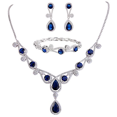 Ever Faith Damen Zirconia viel Hollow-Out Wasser Form Halskette Ohrringe Armband Set Mittelblau Silber-Ton