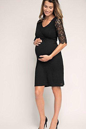 ESPRIT Maternity Umstandskleid Dress Nursing & Spitzenärmeln Y84275 Schwarz (Black)