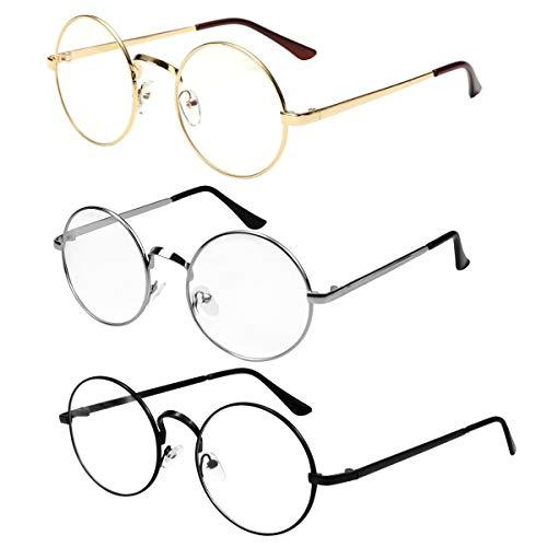 NATUCE 3PCS Unisex Retro Runde Brille, Metall Frame Runde Brille Retro, Klare Linse Brille, Vintage Brille Dekobrillen, Metallgestell Brillenfassung für Damen Herren, Schwarz, Golden, Silber