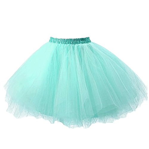 Ellames Damen 50er Vintage Petticoat Party Dance Tutu Rock Ballkleid Minze L/XL