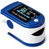 Oxímetro de Pulso, AUA Pulsioximetro de Dedo Profesional con Pantalla LED para Medición de pulso (PR) y Saturación de Oxígeno