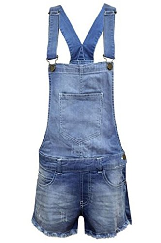 New Kids Girls Boys Childrens Denim Stretch Light Wash Dungarees Playsuit Pinafore Light Wash denim Age 7-8
