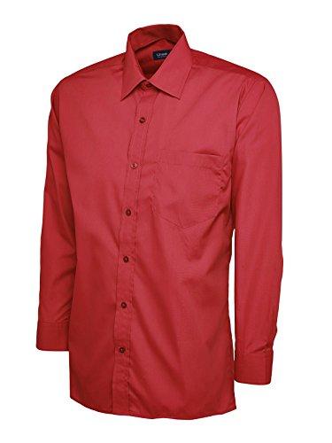 Maglietta da uomo a maniche lunghe, in popeline, da lavoro, Casual formale UC709 uniforme di sicurezza Rosso