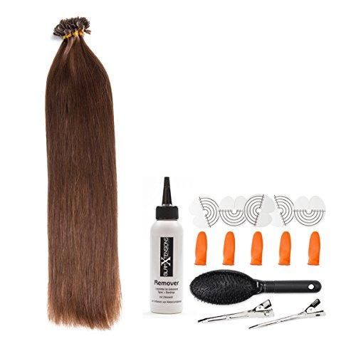 Schokobraune Keratin Bonding Extensions aus 100% Remy Echthaar/Human Hair- 25x 1g 50cm Glatte Strähnen - Lange Haare mit Keratin Bondings U-Tip als Haarverlängerung und Haarverdichtung: Farbe #4 Schokobraun