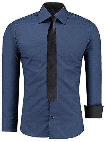J'S FASHION Herren-Hemd – Slim Fit – Bügelleicht – Business Freizeit Hochzeit Navyblau - XL - Krawatte