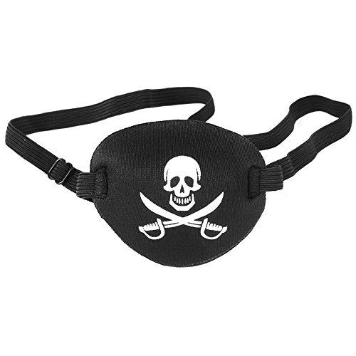 Cikuso Maske Brille Fuer Kinder als Kostuem Zubehoer mit Pirat Muster (schwarz, 34 cm) (Piraten Kostüm Muster)