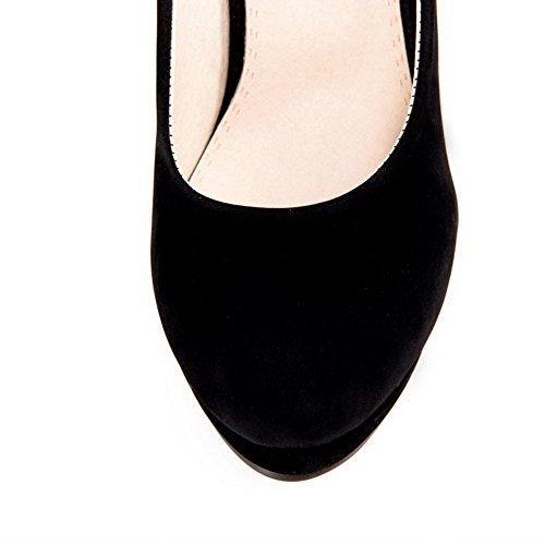 AgooLar Femme Tire Rond à Talon Haut Suédé Couleur Unie Chaussures Légeres Noir