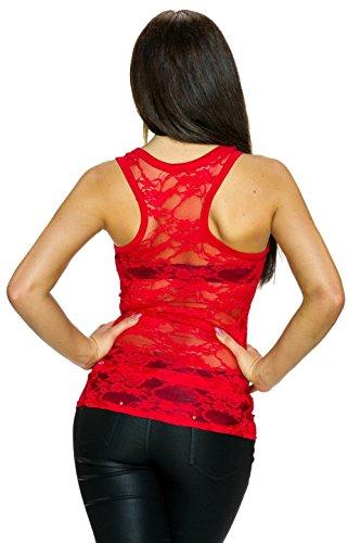 Fashion - Canotta - Basic - Senza maniche  -  donna Rosso