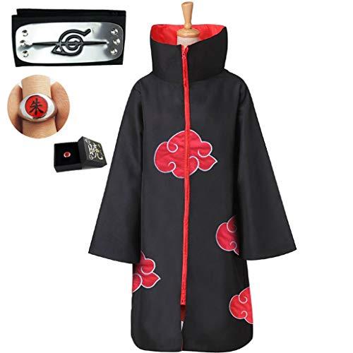 Naruto Kostüm Deluxe - Lilongjiao Unisex Halloween Cosplay Kostüm Uniform Mantel mit Stirnband (Color : Black, Size : S)