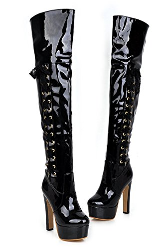 YE Damen Lack Leder High Heels Plateau Blockabsatz Heel overknee schnürstiefel hohe stiefel Warm mit Fell Herbst Winter Mode Schuhe Schwarz