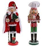 FLAMEER 2X Nussknacker Holzfigur Deko Figur Puppe Anhänger für Weihnachtsbaum Wand Fenster Tür usw. ca. 36 cm