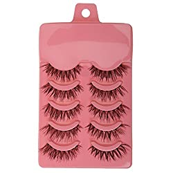 Magideal 5 Pairs Beauty Makeup Handmade Messy Cross Style False Eyelashes Dark Pink