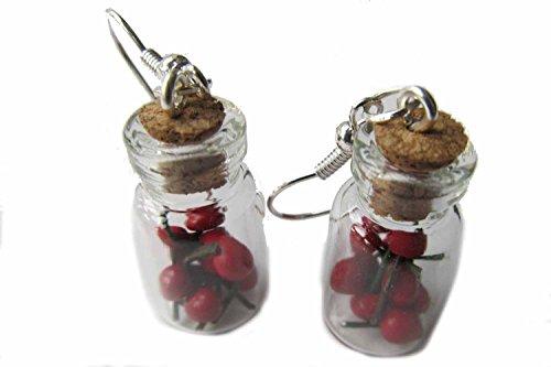Kirschen im Glas Ohrringe Hänger Miniblings Frucht Kirsche Cherry Vorratsglas