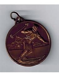 5medallas premiazione–deporte esquí manivela mm 28–Latón bruñido–Made in Italy