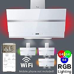 Hotte aspirante murale (80 cm, acier inoxydable, verre blanc, WIFI, très silencieux, 605 m³/h, 4 marches, éclairage LED RVB, touches à détecteur TouchSelect) HERMES807WM - KKT KOLBE