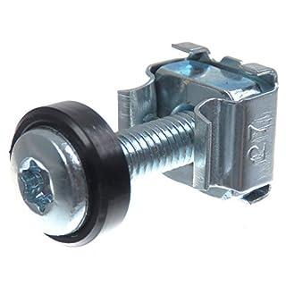 SECCARO Käfigmuttern M5 im Set, zur Rack-Montage, Stahl verzinkt, 20 mm Schraube mit Innensechsrund (TX), Unterlegscheibe, 20 Stück