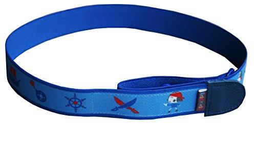 Ed&Kids Kindergürtel Ohne Schnalle Elastisch Größenverstellbar Pirat Blau Größe M (Pirat Gürtel Schnalle)