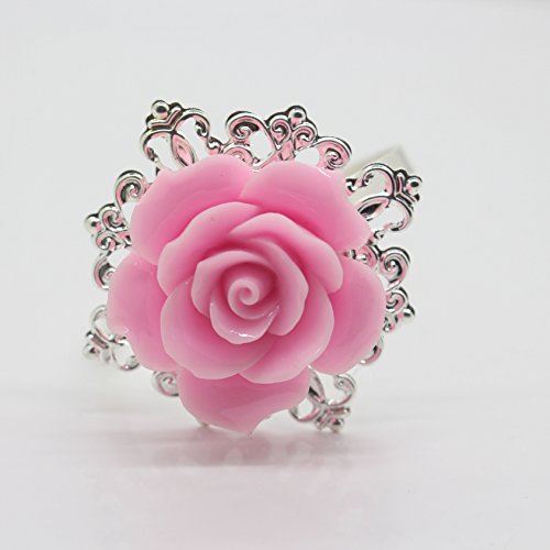 10 Rose Argent décoratif rose rond de serviette serviette support pour fêtes de mariage Table Decor de nombreuses couleurs disponibles