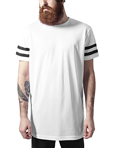 Urban Classics Stripe Mesh Tee, T-Shirt Uomo, Mehrfarbig (Wht/Blk 224), Small