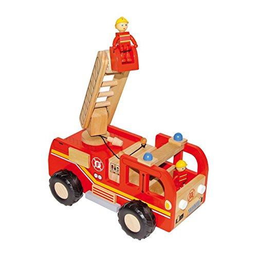 Small foot  8509 Échelle en bois pour camion de pompier, avec échelle à plateau tournant et 2 figurines de pompier