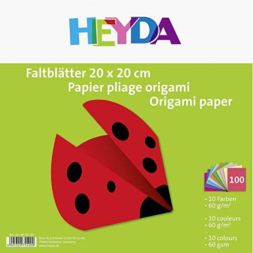 Heyda 204875520 – Carta per origami, 20 x 20 cm, 60 g/mq, 100 fogli, colori assortiti recensioni dei consumatori