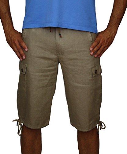08637 PERANO Herren Leinen Shorts Bermudas. Hell Braun