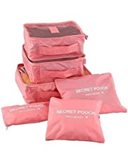 Angel BearMulti-functional Storage Travel Bag with Packing Cubes Laundry Bag and Compression Pouches (Colour May Vary) - Pack of 6