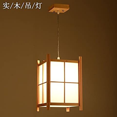 GQLB Japanese Tatami Chandelier Hanging Chandeliers (200*200*300Mm), Solid Wood Vellum White Light