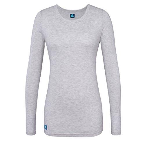Adar Damen-Unterhemd, bequem, langärmelig Gr. X-Large, Marl Gray (Mock Boop Wrap)